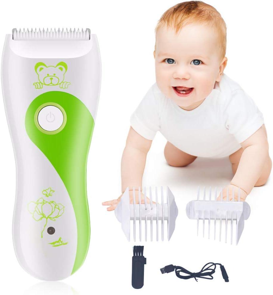 Maquina Cortar Pelo para Bebe, Eléctrico Clipper, Cortapelos Eléctricos para Bebés USB Recargable Impermeable Súper Silencioso Inalámbrico Kit 4 Protecciones Peines