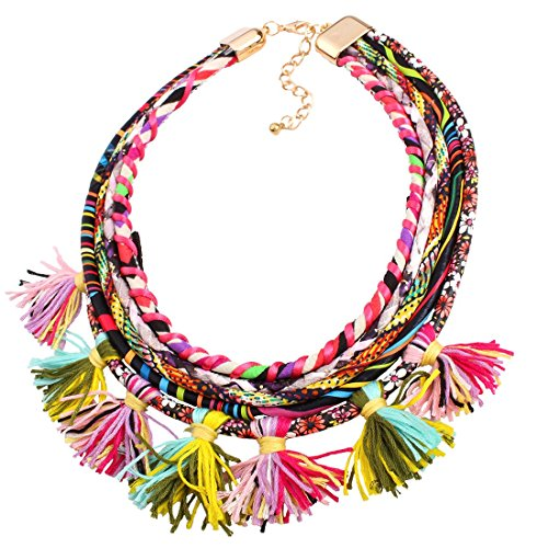 Chunky Multi Strands Chain Tassel Pendant Bib Statement Women Vintage Necklace