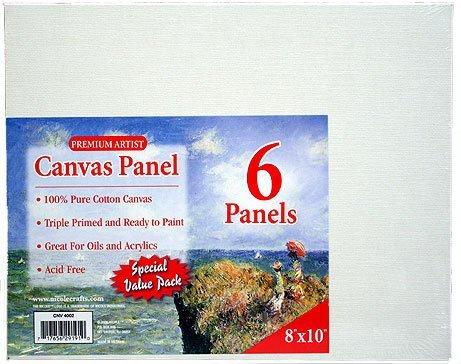 Nicole SbaCNV4002-CL 8 x 10 in. Pre-primed Canvas Panels, Boards - Lot of 6