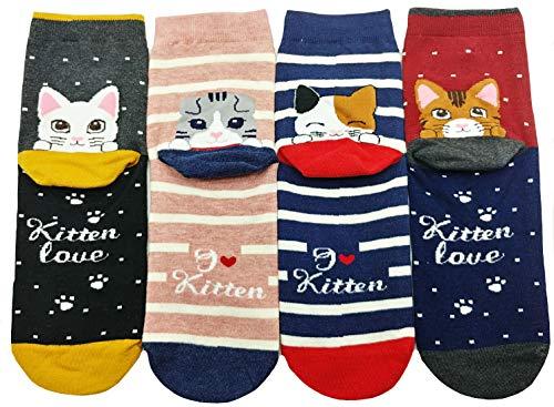 JJMax Women's Sweet Animal Cotton Blend Socks Set One Size Fits All (Peeking Heel and Toe Kitties)