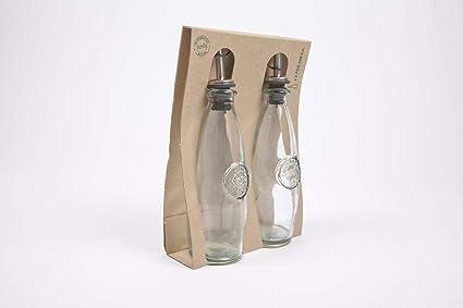 100% cristal reciclado, juego de 2, 300 ml, botellas de aceite/