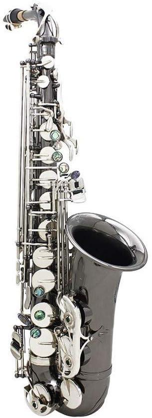 サックス 真鍮ゴールデン彫るパターンBbのベンドAlthornソプラノサックスサックスパールホワイトシェルボタンケース手袋クリーニングクロスグリースベルトブラシと管楽器 初心者入門セット (Color : Silver)