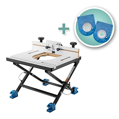 Rockler Convertible Benchtop Router Table with Compact and Mid-Size Insert Plate Kits by Rockler