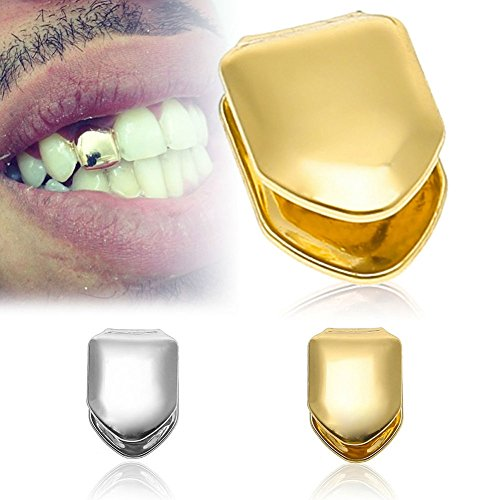 Daycindy 14k Gold Plated Hip Hop Single Cap Grillz Pack of 2, Silver & -