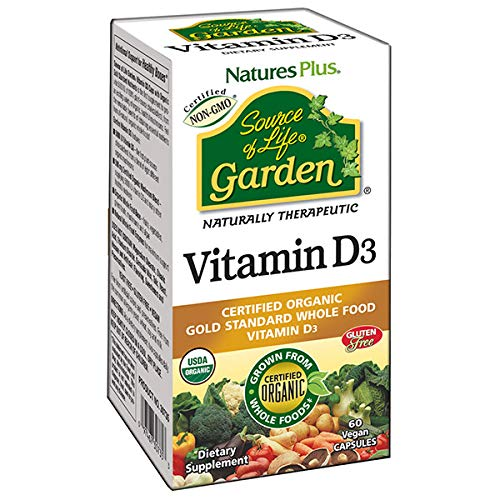 NaturesPlus Source of Life Garden Certified Organic Vitamin D3 - Cholecalciferol 5000 iu, 60 Vegan Capsules - Whole Food Plant-Based Supplement - Vegetarian, Gluten-Free - 30 Servings
