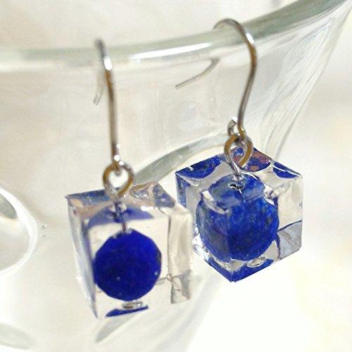 Lapis Lazuli Clear Cube . Resin Pierced Earring . Pierced Earring Gemstones . Silver Plating ()