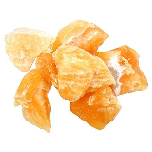 One Pound Bag of Orange Calcite Chunks - 1 Pound Bag - Large Mexican Orange Calcite Stones - Gorgeous Display Piece Rock Paradise Exclusive COA (Medium Green Calcite compare prices)
