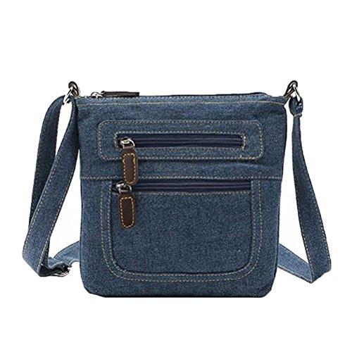 donalworald Mujeres Corto Estilo Denim bolsas de hombro bolso Messenger Crossbody Bolso de mano Azul - azul