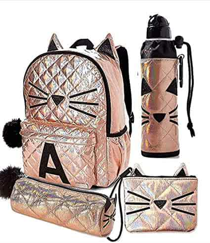 2570b7d4249 Justice Set of 4 Letter Initial School Backpack, Water Bottle, Wristlet &  Round Pencil