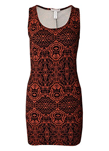 MonsterCloset Abstract Print Mini Dress, Coral/Black, (Abstract Print Mini Dress)