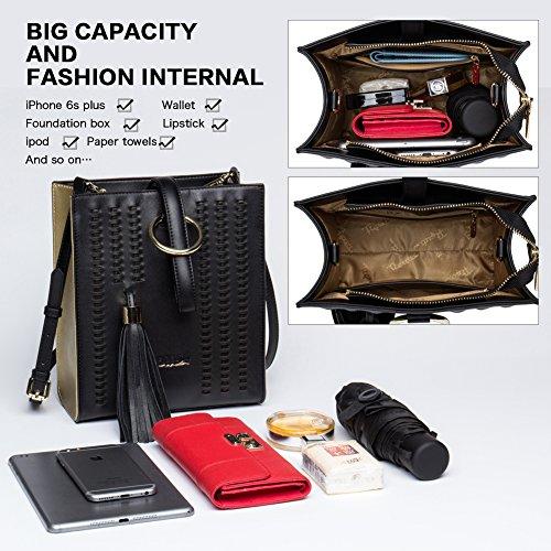 Handbags Designer Purse Genuine Handle shoulder Tote Bags Women 452 Top Leather FIGESTIN black RWA6Hn6
