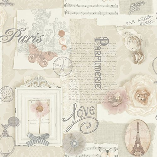 Shabby Chic French Inspired Neutral Tones Wallpaper