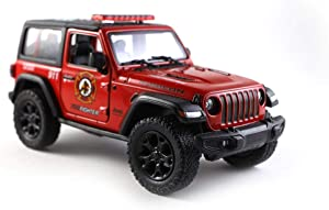 Jeep Wrangler Rubicon 4x4 Hard Top Off-Road Diecast Model Toy Car Fire Fighter Truck Red