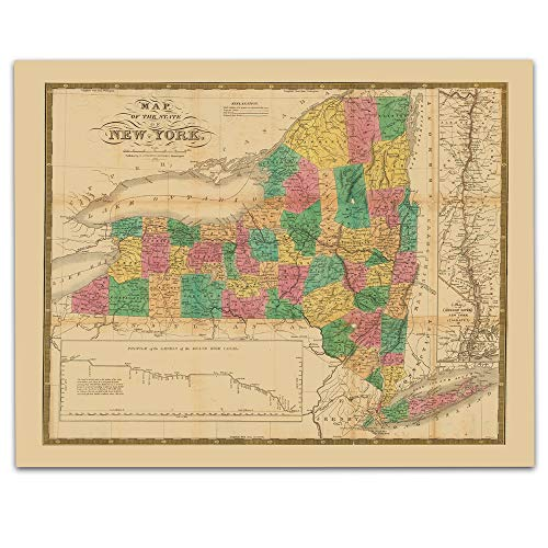 New York State Vintage Map Circa 1831-11 x 14 Unframed Print - Great Housewarming Gift. New York Themed Office Decor.