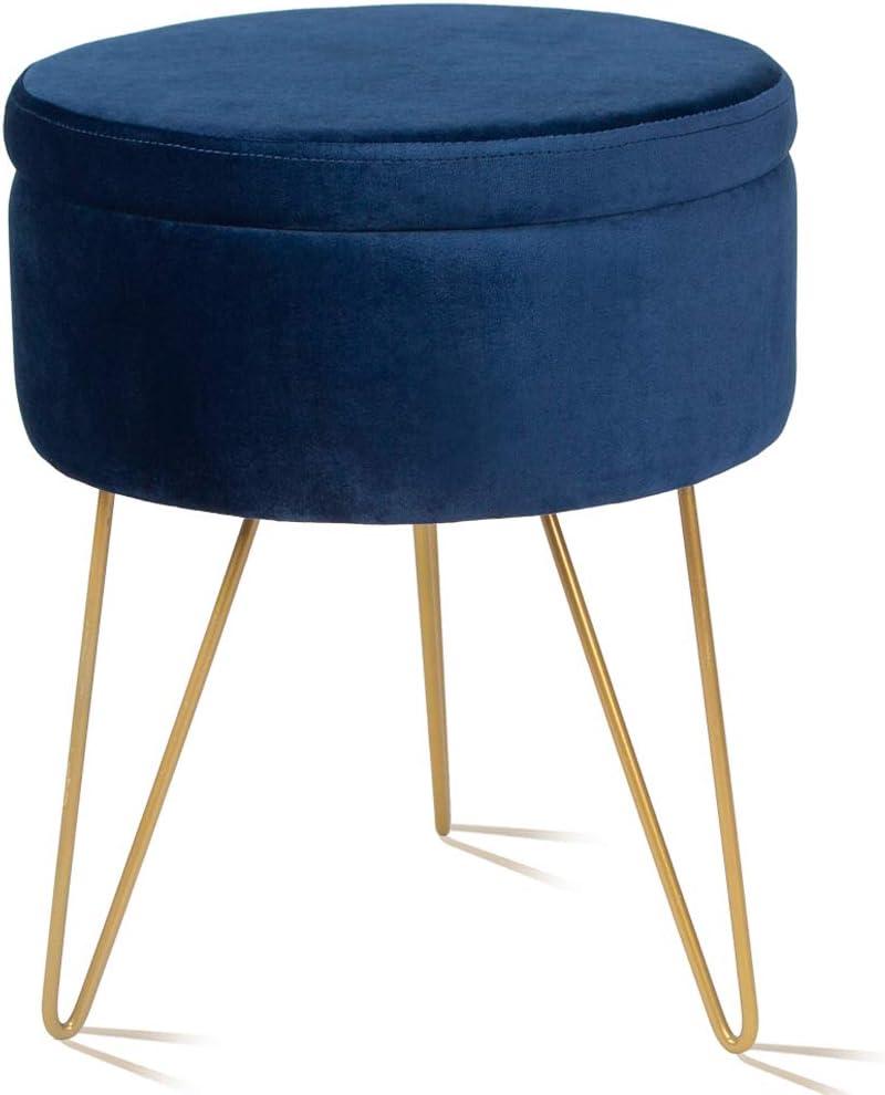 Elnsivo Velvet Storage Footrest Stool Dressing Upholstered Vanity Chair Round Ottoman with Golden Metal Legs for Home Living Room Bedroom, Blue