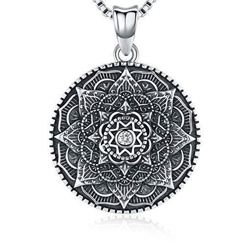 Sterling Silver Mandala Necklace for Women, Filigree Flower of Life Pendant Jewelry Teen Girls Gift Ideas,18 Chain Womens Necklaces for Slide,Geometric Silver Charm Om Amulet Jewelry with Fine Box