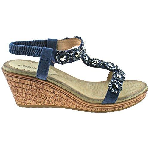 UK Elasticated Trim Wedge Boulevard PU Blue EU 8 Ladies Back 41 Summer Flower Sandals Hali Halter wqqIE7n