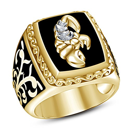 TVS-JEWELS Attractive Scorpio Zodiac Sign Men's Ring 14k Gold Plated Sterling Silver Round Cut White CZ (7) 14k Zodiac Sign Ring