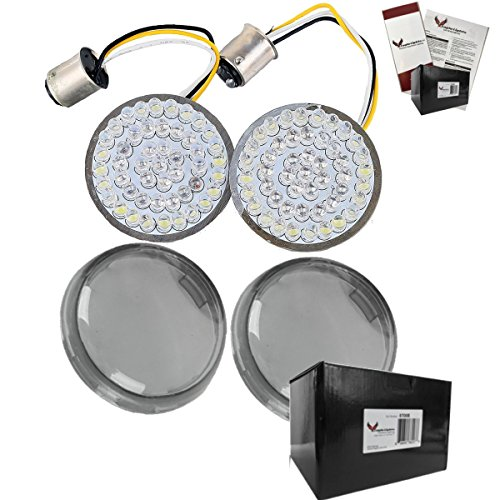 "Street Smoked Lens Set (Eagle Lights 2"" Bullet Style LED Turn Signal w/ Running Light Kit for Harley Davidson - (2) Front Turn Signals and (2) Smoked Lenses (Add Smoked Lenses))"