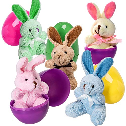 30 PCS Easter Eggs Basket Stuffers Plush Bunnies Toy Plastic Easter Eggs Fillers Bunny Kids Party Favors Surprise Easter Eggs Hunt Games Supplies Toddler Girls Toys Birthday Gifts Goodies bags by BSWEEII (Image #2)