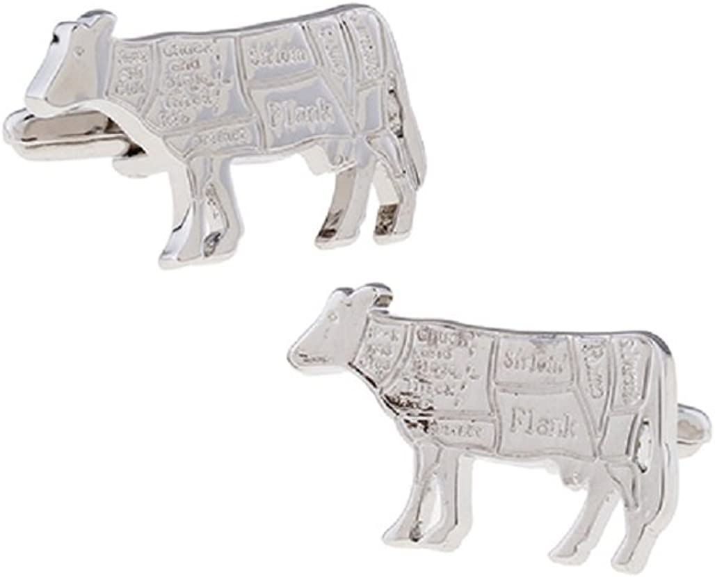 MRCUFF Butcher Cow Steak Steer Chef Cook Map Pair Cufflinks in a Presentation Gift Box & Polishing Cloth