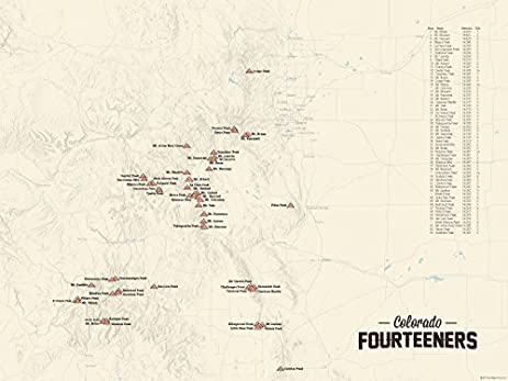 Amazoncom Colorado Ers Map X Poster Tan Posters Prints - 14ers map us