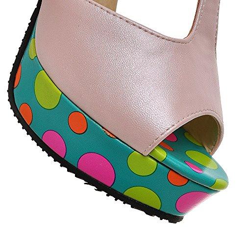 Fashion Heel - Zapatos con correa de tobillo mujer Rosa