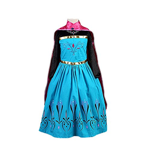 FEC1S Girl Elsa Coronation Dress with Gloves & Crown Set Halloween Costume 2T-12 USA (5-6 (Elsa Costume Coronation)