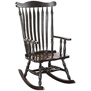 Benjara Benzara Wooden Rocking Chair with Contoured Seat, Black