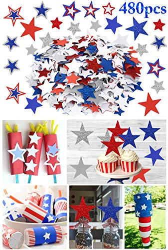Outgeek Foam Stickers, 480PCS DIY Glitter Star Stickers for Kids Assorted Patriotic Star Stickers Self Adhesive for Kids Crafts Scrap Booking Decorating Cards Models for 4th of July Independence Day