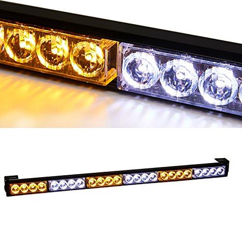 TeddyTT (Amber/White) 27 inches 24 LED Hazard Emergency Traffic Advisor Directional Light Bar Warning Flasher Vehicle Strobe Light Bar for Pickup/Truck/ Car ()