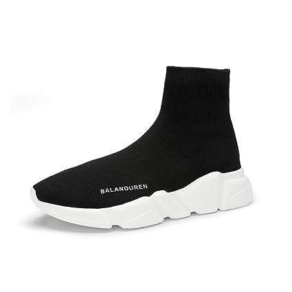 YAN Zapatos de Mujer Zapatos elásticos de Primavera y otoño Zapatillas Altas Negras Zapatillas de Punto