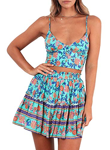 Women's Bohemian Striped Printed Crop Top with High Waist Shorts Two Piece Outfit Suit Set (Green, US2) -