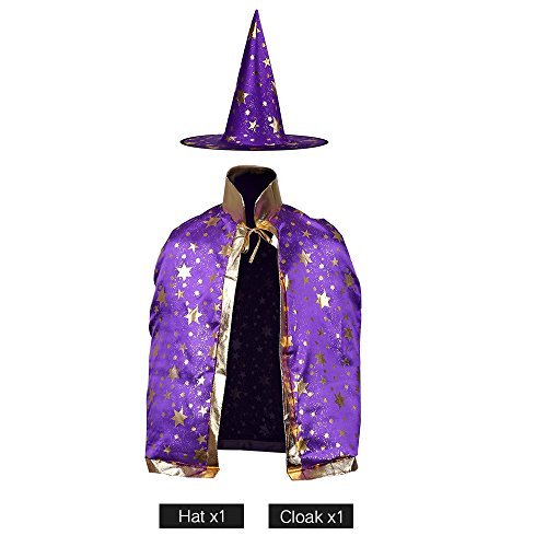 Children Costumes Stars Style for Halloween and Christmas Sorcerer/Witch Costume with Hat and Cloak (Purple Christmas Hat)