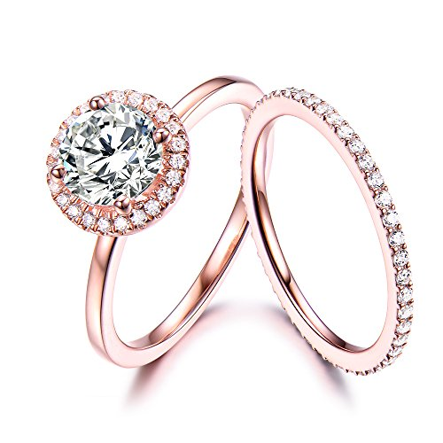 CZ Engagement Ring Set Cubic Zirconia Diamond Halo 925 Sterling Silver Rose Gold Stacking Band Eternity by Milejewel CZ engagement rings