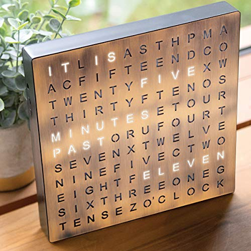 Sharper Image Light Up Electronic Word Clock, Copper Finish with LED Light Display, USB Cord and Power Adapter, 7.75in… 4