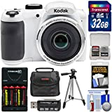 Kodak PIXPRO AZ252 Astro Zoom Digital Camera (White) 32GB Card + Batteries & Charger + Case + Tripod + Kit