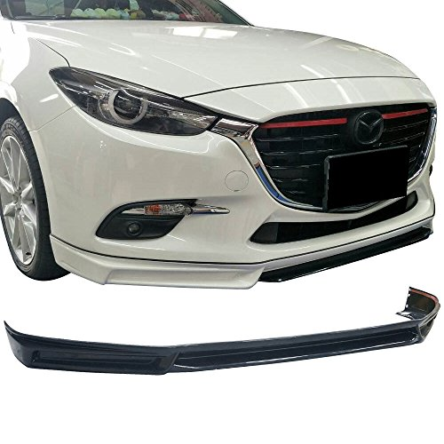Front Lip Fits 2017-2018 Mazda 3 | MK Style Unpainted Black ABS Plastic Air Dam Chin Front Lip Splitter Spoiler By IKON MOTORSPORTS