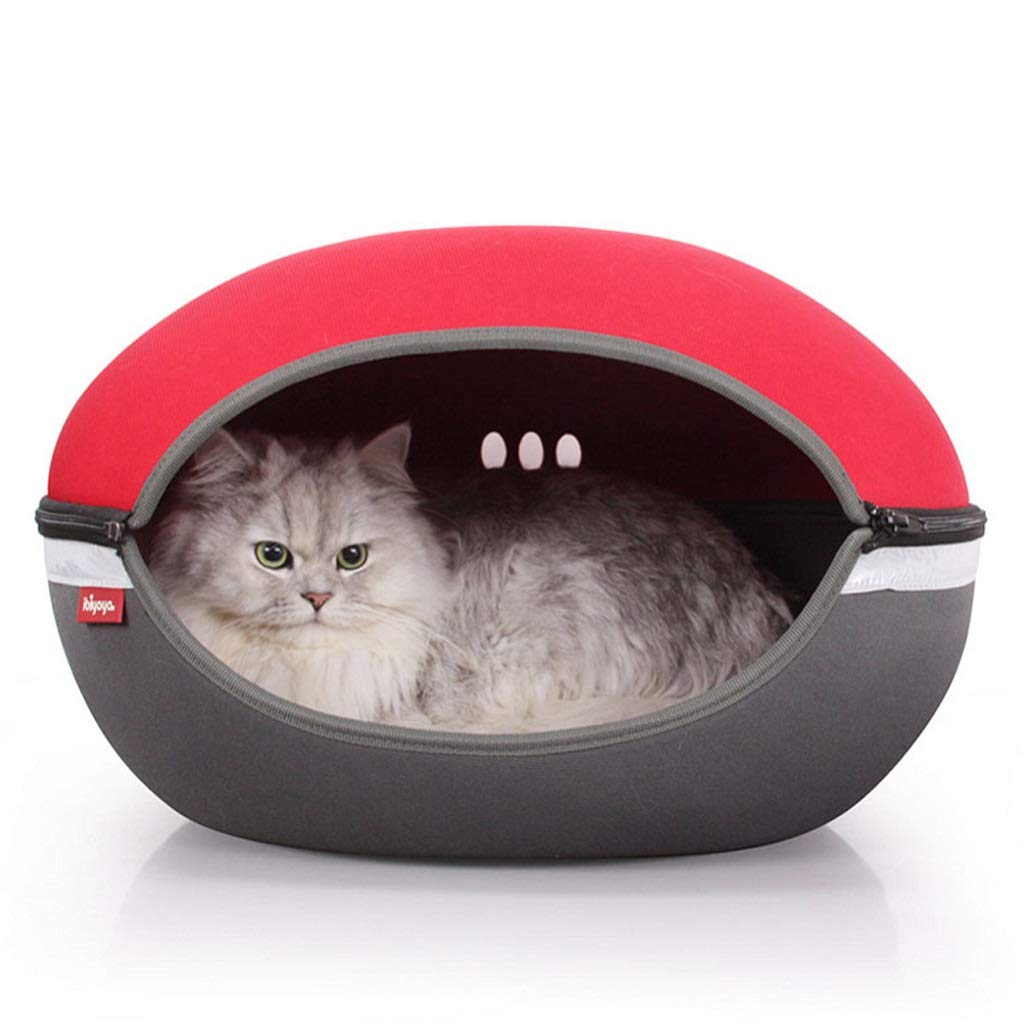 Red GWM Kennels Pet Bed House,Pet Cave,Cat Dog Nest,Sleeping Bag Mat Pad,Washable with Inner Cushion (color   Red)