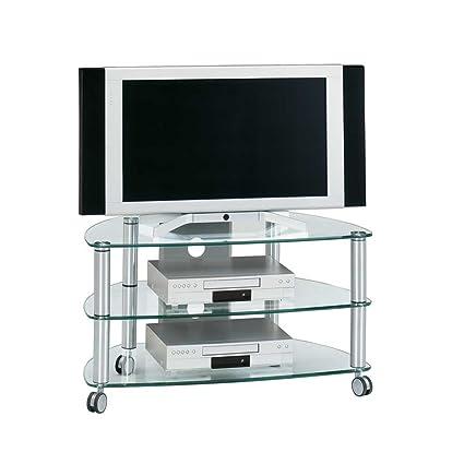 Carrito de TV cristal aluminio Pharao24