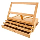 US Art Supply GRAND SOLANA 3-Drawer Adjustable Wooden Storage Box with Fold Down Easel