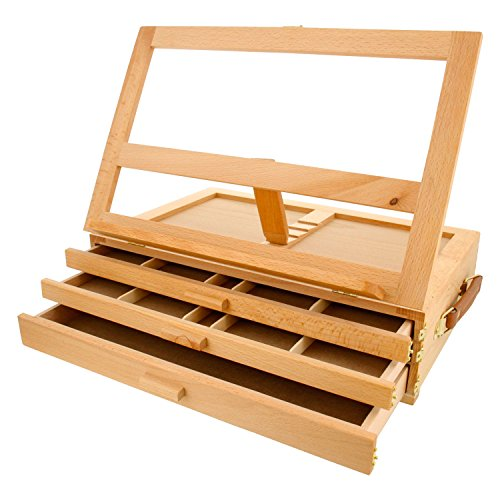 us-art-supply-grand-solana-3-drawer-adjustable-wooden-storage-box-with-fold-down-easel