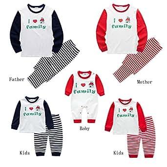 Baywell I Love Santa, Christmas Family Matching Pajamas Set For Dad Mom Kid (kids-L/5-6Y/110, Family-Kids-Black)