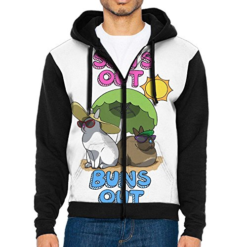 Losport Sun's Out Buns Out Bunny Men's Adult Full-Zip Hooded Fleece Sweatshirt Casual Long Sleeve Hoodies - Canada In Tracking Usps