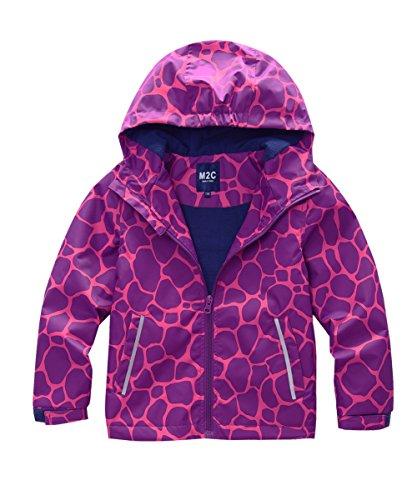 M2C Girls Hooded Fleece Lined Waterproof Jacket 10/12 Purple