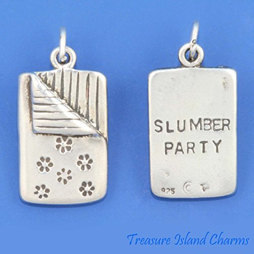 SLEEPING BAG SLUMBER PARTY 3D .925 Solid Sterling Silver Charm Jewelry Making Supply Pendant Bracelet DIY Crafting by Wholesale Charms