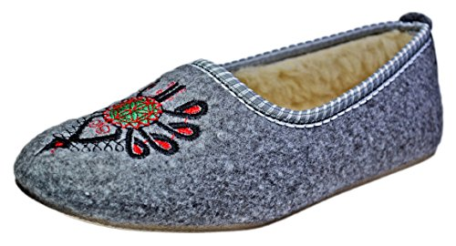 Reindeer Leather, Women's Cosy Warm Shoes, Grey Indoor House Slippers, Stylish Lightweight Wool Winter Ladies Slip-on (Reindeer Leather)