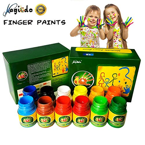 Magicdo 12 Cols Finger Paint Kit for Kids, Washable Paint Set, Non-Toxic Finger Painting Kit for Arts, Crafts and Posters, 12 X 30 ml (1 -