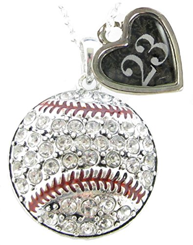Custom Baseball Crystal Silver Necklace Jewelry Jersey Numbers 00-99 Available