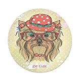 Polyester Round Tablecloth,Yorkie,Be Cute Portrait an Adorable Dog Earrings Necklace Glasses Hat Makeup,Light Brown Coral,Dining Room Kitchen Picnic Table Cloth Cover Outdoor Indoor